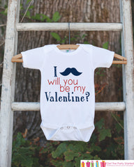 Boys Valentines Day Outfit - Mustache Will You Be My Valentine Onepiece - Novelty Valentine Shirt for Baby Boys - Kids Valentines Day Outfit