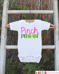 Kids St. Patricks Day Outfit - Pinch Proof Onepiece - Novelty St. Patricks Shirt for Baby Girls - Green Clover - Infant St Patricks Outfit - 7 ate 9 Apparel