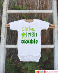 Kids St. Patricks Day Outfit - Part Irish All Trouble Onepiece - Novelty St. Patricks Shirt for Baby Boys - Green Clover - Infant Outfit - 7 ate 9 Apparel