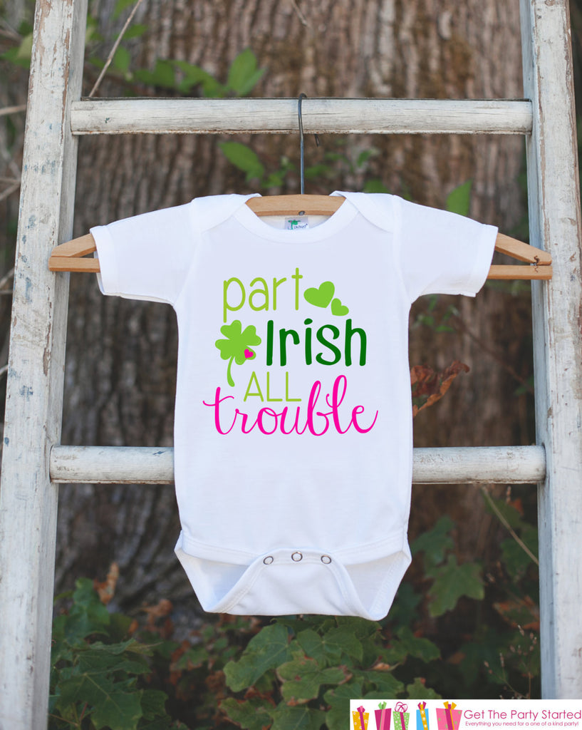 Kids St. Patricks Day Outfit - Part Irish All Trouble Onepiece - Novelty St. Patricks Shirt for Baby Girls - Green Clover - Infant Outfit - 7 ate 9 Apparel