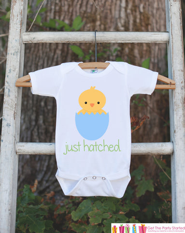 Baby Boy Outfit - Boys Just Hatched Outfit - Newborn Infant Onepiece - Baby Chick Bodysuit for Boys - Going Home Take Home Hospital Outfit - 7 ate 9 Apparel