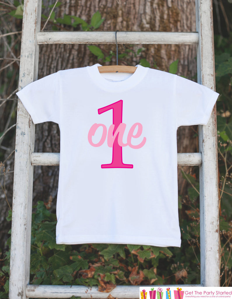 First Birthday Outfit for Baby Girls - One Onepiece For Girl's 1st Birthday Party - Girls Birthday Shirt - Hot Pink 1 First Birthday Creeper - 7 ate 9 Apparel