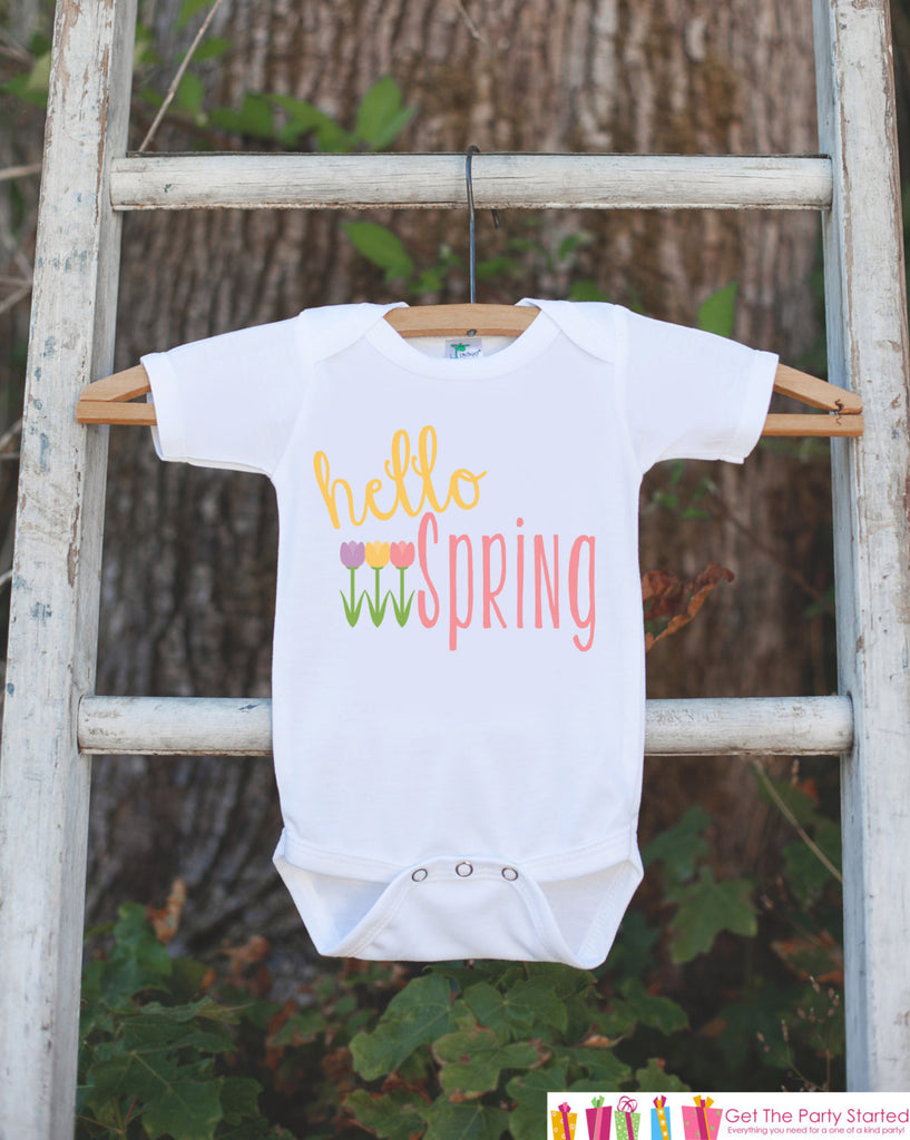 Girls Outfit - Hello Spring Onepiece With Tulip Flowers - Baby's 1st Spring - Newborn Bodysuit - Pastel Spring Infant Baby Girl Outfit - 7 ate 9 Apparel
