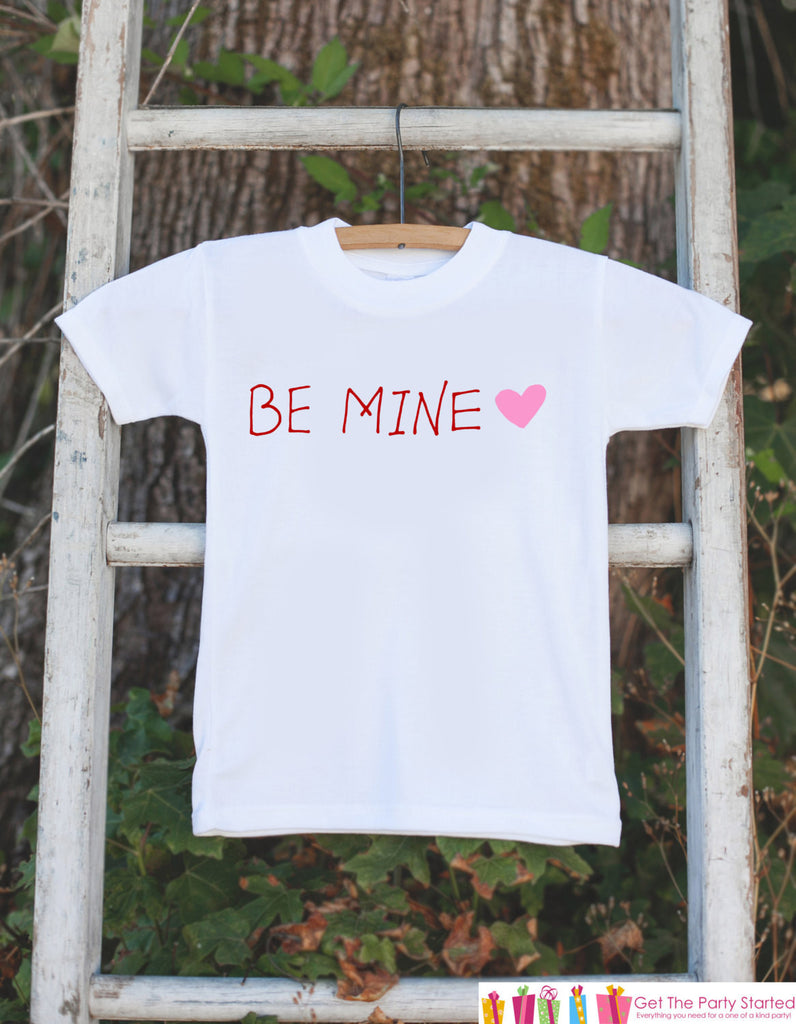 Kids Valentines Shirt - Be Mine Valentine Outfit - Novelty Valentine Onepiece for Baby Girls - Kids Valentines Outfit - Red & Pink Heart - 7 ate 9 Apparel