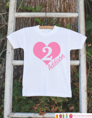 Girl Birthday Shirt - Second Birthday Shirt For Girl's 2nd Birthday Party - Girls Birthday Shirt - Light Pink Heart Second Birthday Shirt - 7 ate 9 Apparel