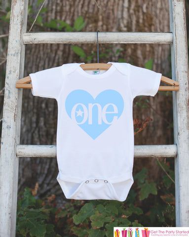Boy First Birthday Outfit - One 1st Birthday Onepiece For Boy's 1st Birthday Party - Boys Birthday Shirt - Blue Heart Apparel Clothing - 7 ate 9 Apparel