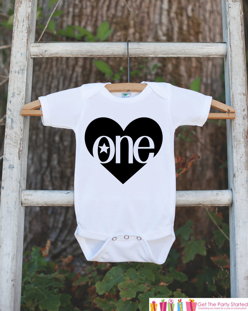 Kids First Birthday Outfit - One 1st Birthday Onepiece For Girl or Boys's 1st Birthday Party - Girls Birthday Shirt - Black Heart Clothing
