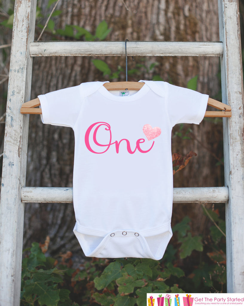 One Birthday Outfit - One 1st Birthday Onepiece For Girl's 1st Birthday Party - Girl First Birthday Shirt - Pink Heart One Outfit Clothing
