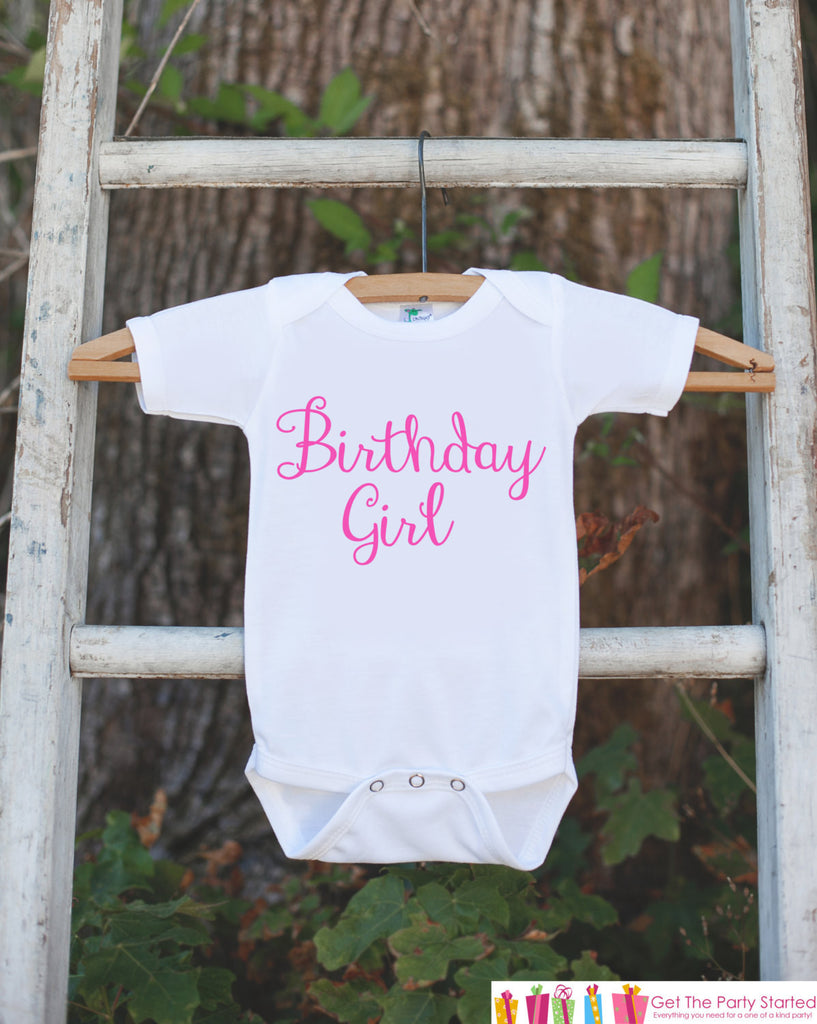 Birthday Girl Outfit - Girls Pink Birthday Onepiece or Tshirt For Birthday Party - Girl First Birthday Shirt - Pink Birthday Top Shirt - 7 ate 9 Apparel