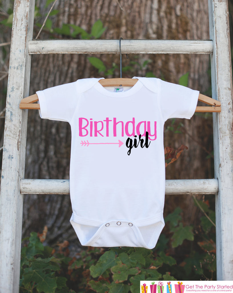 Birthday Girl Outfit - Girls Pink & Black Hipster Arrow Birthday Onepiece or Tshirt - Girl Birthday Shirt - Pink Birthday Party Top Shirt - 7 ate 9 Apparel