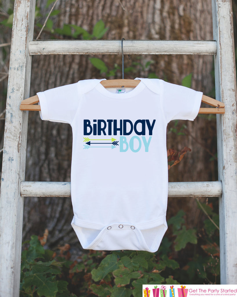 Birthday Boy Outfit - Boys Blue & Green Hipster Arrow Birthday Onepiece or Tshirt - Boy Birthday Shirt - Blue Birthday Party Top Tshirt