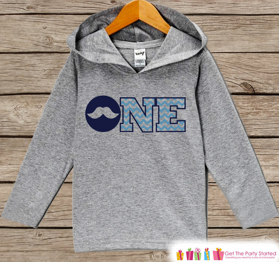 Boys First Birthday Shirt - Kids Hoodie - Mustache ONE Pullover - 1st Birthday Shirt - Boys Hoodie - First Birthday Shirt - Boy Birthday - 7 ate 9 Apparel