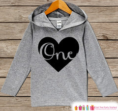 First Birthday Outfit - Kids Hoodie - One Heart Pullover - 1st Birthday Shirt - Boy's or Girl's Hoodie - First Birthday Shirt - Birthday Top