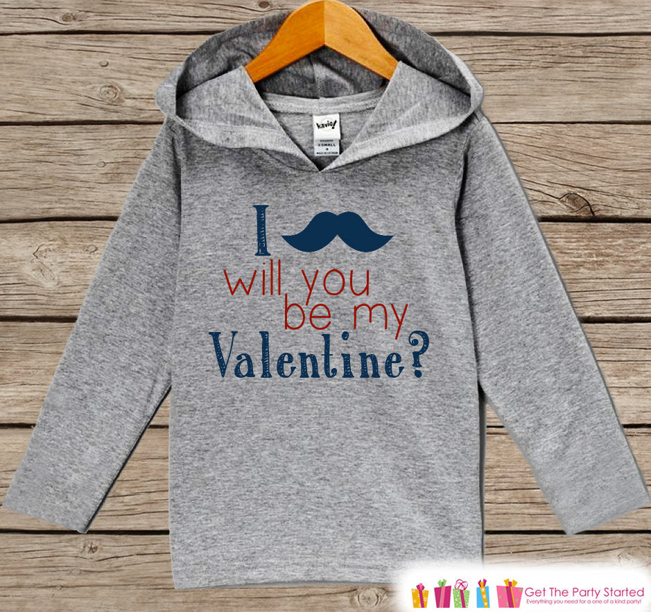 Kids Valentine Shirt - Boys Hoodie - Be My Valentine Pullover - Baby Boys Valentine's Day Outfit - Mustache Toddler Hoodie - Infant Hoodie - 7 ate 9 Apparel