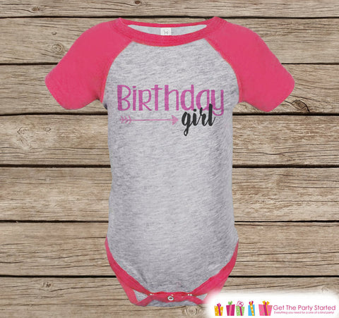 Birthday Girl Outfit - Girls Pink & Black Hipster Arrow Birthday Onepiece or Tshirt - Girl Birthday Raglan Tee - Pink Birthday Party Shirt - 7 ate 9 Apparel