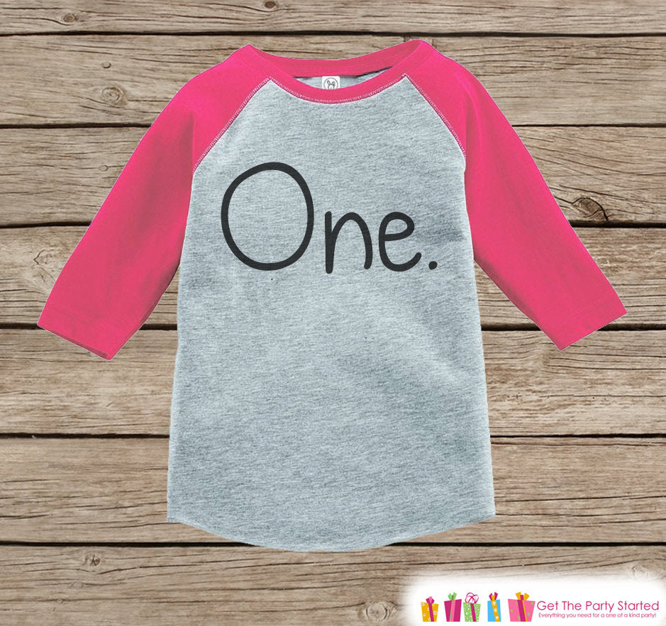 Girls One Birthday Raglan Shirt