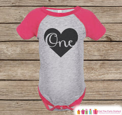 Girl's First Birthday Outfit - One Pink Raglan Shirt - 1st Birthday Onepiece For Girl Birthday Party - Girls Birthday Shirt - Black Heart - 7 ate 9 Apparel