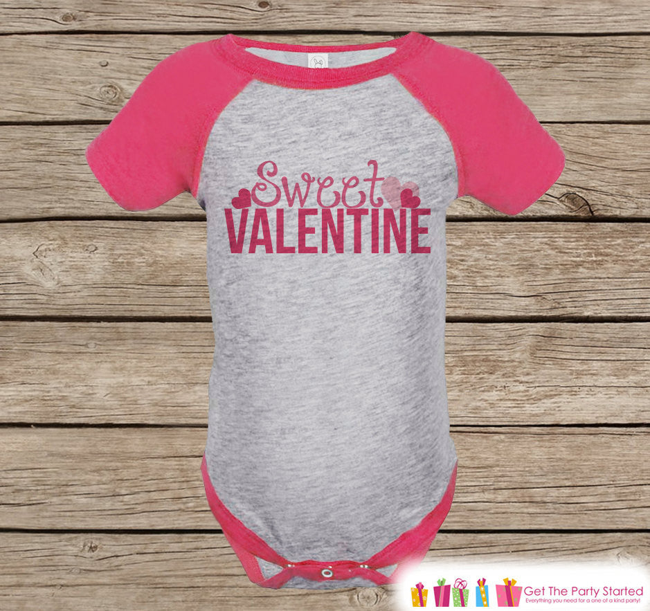 Girls Valentines Day Outfit - Pink Raglan Shirt - Sweet Valentine Onepiece - Novelty Valentine Shirt for Baby Girl - Valentines Raglan Tee - 7 ate 9 Apparel