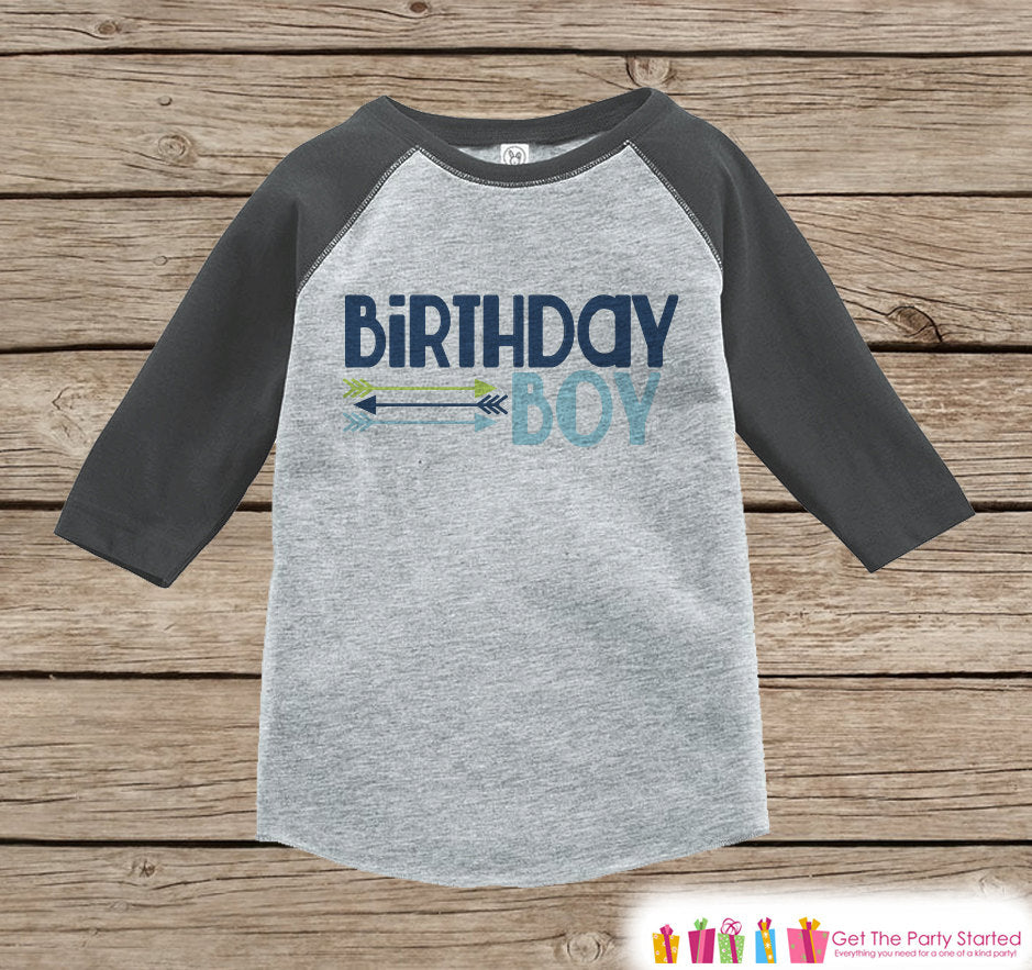Boy Birthday Outfit - Birthday Boy Grey Raglan Shirt - Hipster Arrows Birthday Onepiece For Boy's Birthday Party - Boy's Birthday Raglan Tee