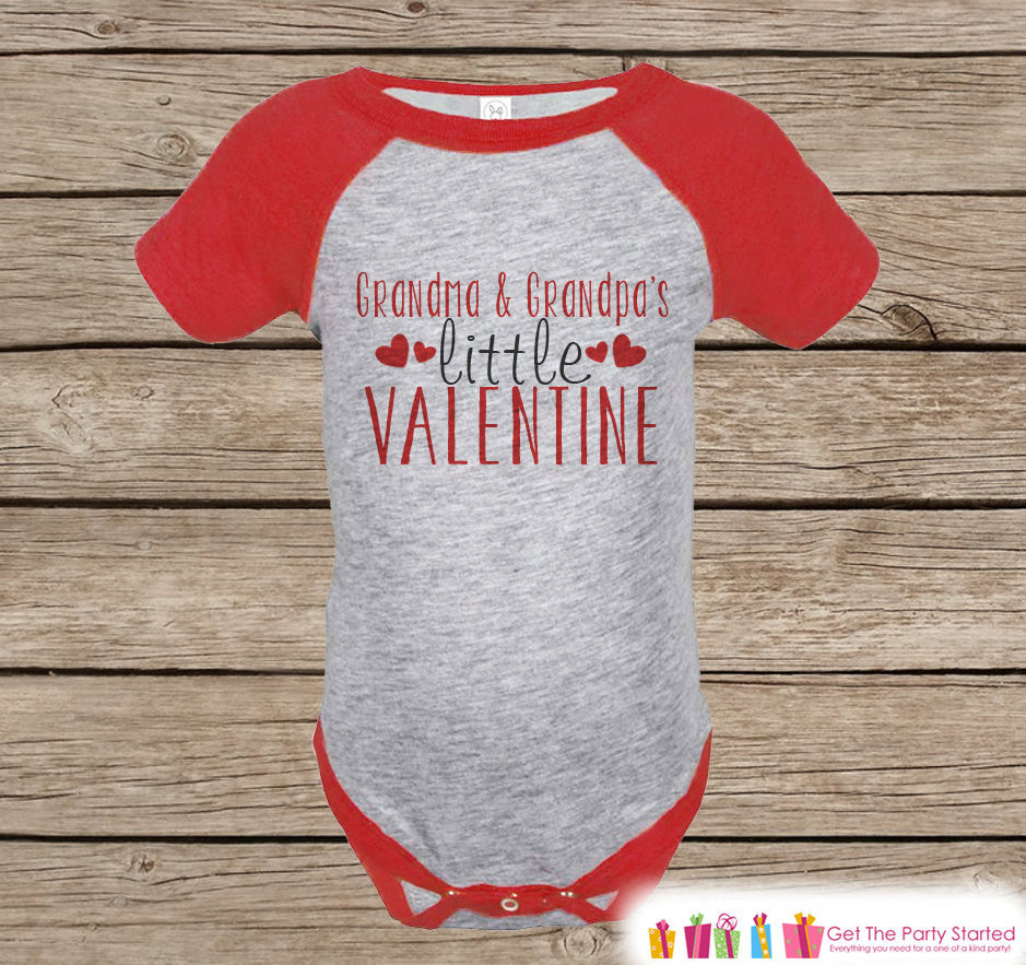 Kids Valentines Day Outfit - Grandma & Grandpa's Valentine Onepiece - Novelty Valentine Raglan Shirt - Boy or Girl - Grandparents Valentine - 7 ate 9 Apparel