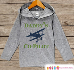 Kids Hoodie - Airplane Pullover - Daddy's Co-Pilot Outfit - Father's Day Gift Idea - Grey Toddler Hoodie - Boys Hoodie - Airplane Shirt Top - 7 ate 9 Apparel
