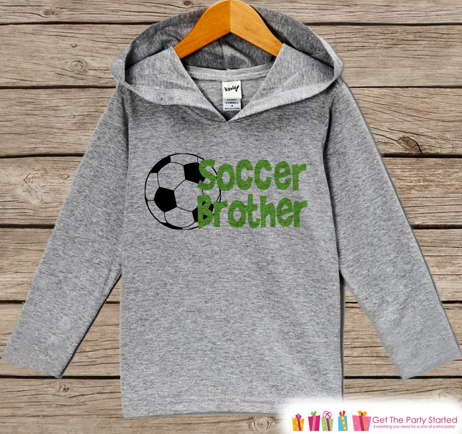 Kids Hoodie - Soccer Pullover Soccer Brother Outfit - Grey Toddler Hoodie - Boy's Hoodie - Soccer Shirt - Soccer Hoodie - Baby Kids Pullover - 7 ate 9 Apparel