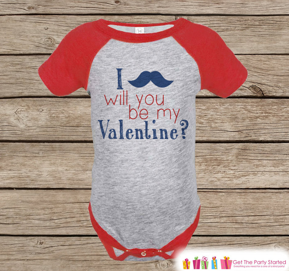 Boy's Valentines Day Outfit - Red Raglan Shirt - Mustache Be My Valentine Onepiece - Valentine Top for Baby Boys - Valentines Raglan Tee - 7 ate 9 Apparel