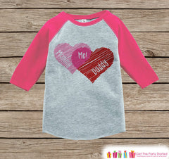 Girls Valentines Day Outfit - Pink Raglan Shirt - Mommy + Daddy = Me Onepiece - Novelty Valentine Shirt for Baby Girl - Valentine Raglan Tee