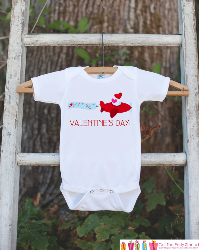 Kids Valentines Day Outfit - My First Valentines Onepiece - Love Airplane Valentine Bodysuit for Baby Girl or Boy - 1st Valentine's Day Top - 7 ate 9 Apparel