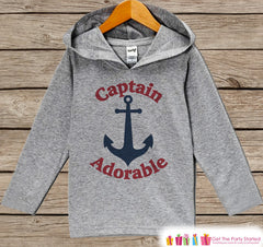 Kids Hoodie - Nautical Pullover Captain Adorable Outfit - Grey Toddler Hoodie - Kids Hoodie - Nautical Shirt - Boys Hoodie Pullover Top - 7 ate 9 Apparel