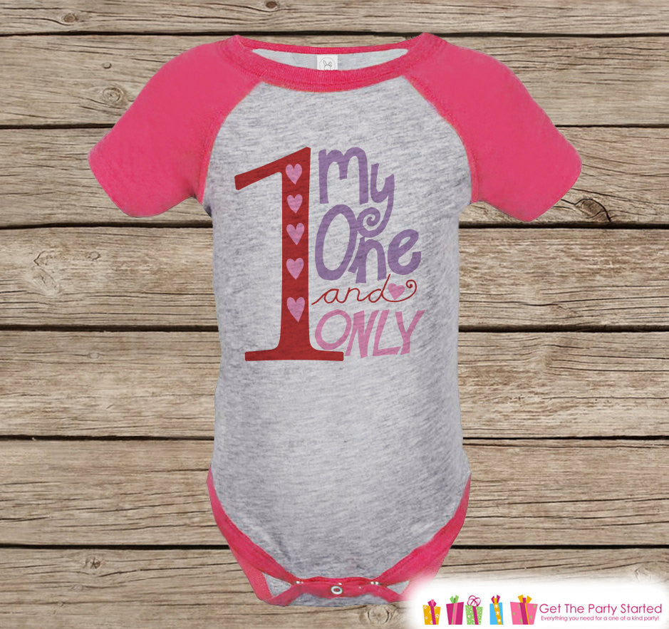Girls Valentines Day Outfit - Pink Raglan Shirt - My One and Only Onepiece - Novelty Valentine Shirt for Baby Girl - Valentine Raglan Tee - 7 ate 9 Apparel