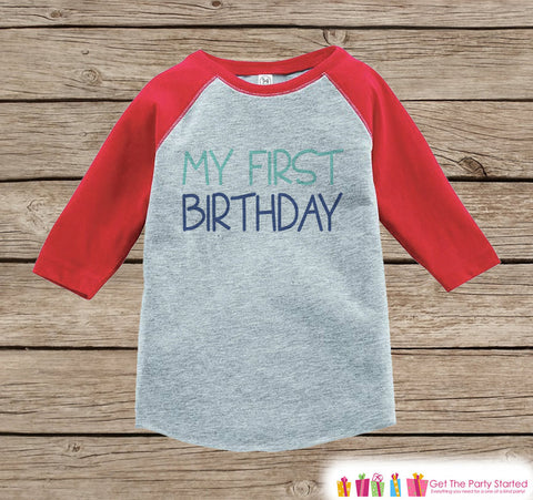 Boys First Birthday Outfit - My First Birthday Onepiece or Tshirt - Boy 1st Birthday Shirt - Red Raglan Birthday Shirt - Boys Raglan Top - 7 ate 9 Apparel
