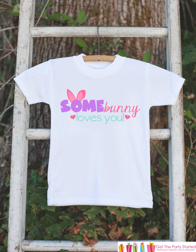 Girls Easter Shirt - Newborn Infant Onepiece - Some Bunny Loves Me Girl Outfit - Girl Easter Bunny Bodysuit - Novelty Easter Outfit Tshirt - 7 ate 9 Apparel