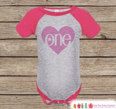 Girls First Birthday Shirt - One Onepiece or Tshirt - Girl 1st Birthday Outfit - Hot Pink One Raglan Birthday Shirt - Girls Raglan Tee - 7 ate 9 Apparel