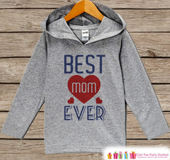 Kids Mother's Day Outfit - Best Mom Ever Hoodie - Navy Blue & Red Pullover - Kids Happy Mothers Day Gift - Grey Toddler Hoodie Infant Hoodie - 7 ate 9 Apparel