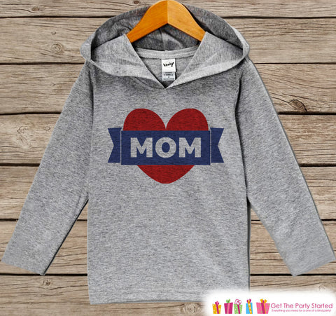 Boy's Mother's Day Outfit - Kids Hoodie - Red Heart Shirt - Children's Pullover - Grey Toddler Hoodie - Infant Hoodie - 1st Mother's Day Top - 7 ate 9 Apparel
