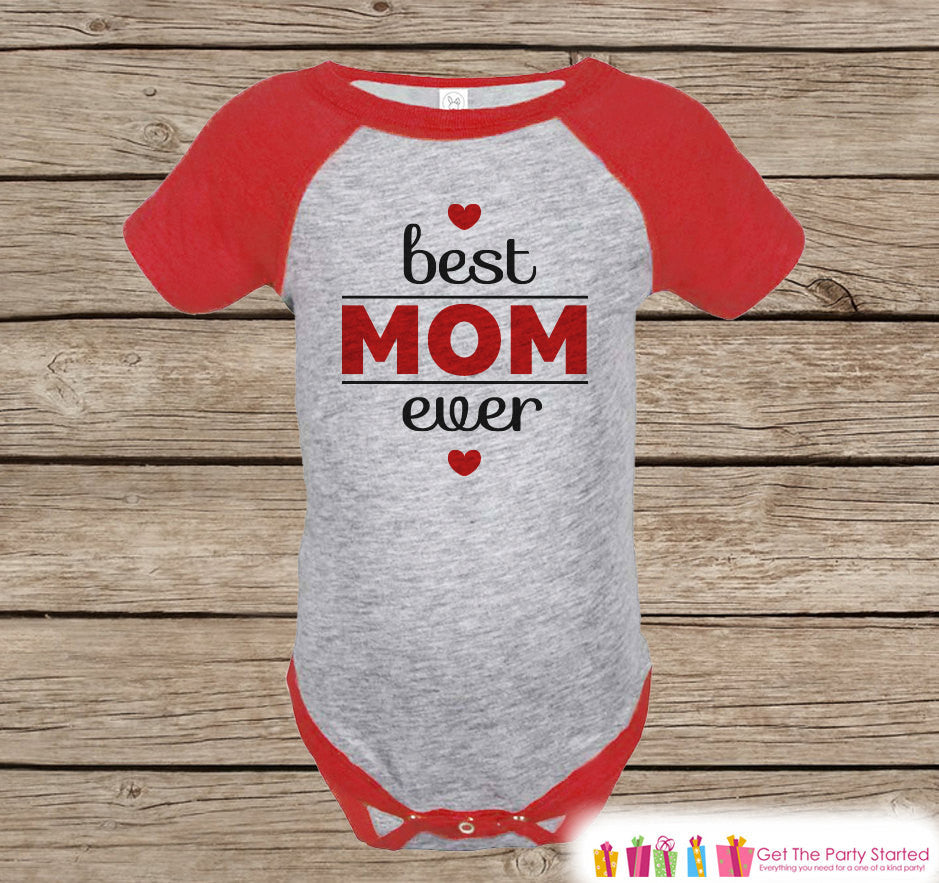 Boy's Mother's Day Outfit - Red Raglan Shirt - Best Mom Ever Happy Mothers Day Onepiece or Tshirt - Novelty Childrens Raglan Tee - Baby Boys - 7 ate 9 Apparel