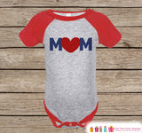 Boy's Mother's Day Outfit - Red Raglan Shirt - Mom Happy Mothers Day Onepiece or Tshirt - Navy Blue & Red Heart Novelty Childrens Raglan Tee - 7 ate 9 Apparel