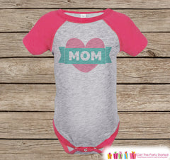 Girl's Mother's Day Outfit - Pink Raglan Shirt - Mom Pink Heart Happy Mother's Day Onepiece or Tshirt - Novelty Kids Raglan Tee - Baby Girls - 7 ate 9 Apparel