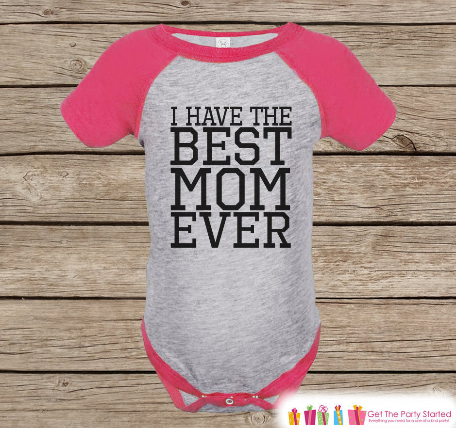 Girls Mother's Day Outfit - Pink Raglan Shirt - I Have The Best Mom Ever Onepiece or Tshirt - Happy Mothers Day Childrens Raglan Tee - Black - 7 ate 9 Apparel