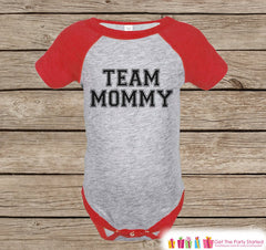 Kids's Mother's Day Outfit - Red Raglan Shirt - Team Mommy Onepiece or Tshirt - Happy Mothers Day Novelty Childrens Raglan Tee - Red & Black - 7 ate 9 Apparel