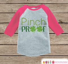 Girls St Patricks Day Outfit - Pink Raglan Shirt - Pinch Proof Pink & Green Onepiece - St Patricks Shirt for Baby Girl - Holiday Raglan Tee - 7 ate 9 Apparel