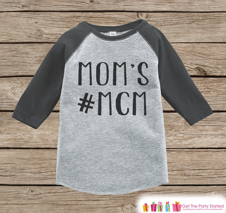 Kid's Mother's Day Outfit - Grey Raglan Shirt - Mom's #MCM Onepiece or Tshirt - Happy Mothers Day Novelty Childrens Raglan Tee - Black Grey