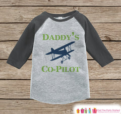 Boys Novelty Airplane Outfit - Baby Boys Onepiece or T-shirt - Daddy's Copilot Grey Raglan Shirt - Kids Raglan Tee - Newborn Infant Toddler