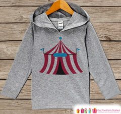 Kids Hoodie - Circus Tent Pullover - Carnival Outfit - Boys Grey Toddler Hoodie - Kids Hoodie - Circus Shirt - Novelty Baby Boys Circus Tent