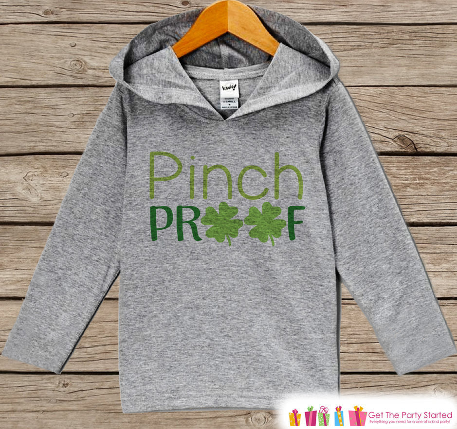 Kids St Patricks Day Outfit - Funny Pinch Proof Hoodie Pullover - Funny Childrens Outfit - Novelty Humorous Grey & Green Toddler Hoodie - 7 ate 9 Apparel