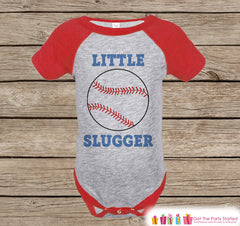 Humorous Boy's Outfit - Baseball Red Raglan Shirt - Funny Baby Boy's Onepiece or Tshirt - Novelty Raglan Tee for Baby Boys, Toddler, Infant