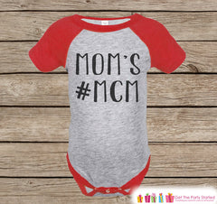 Boy's Mother's Day Outfit - Red Raglan Shirt - Mom's #MCM - Happy Mothers Day Onepiece or Tshirt - Novelty Childrens Raglan Tee - Hashtag