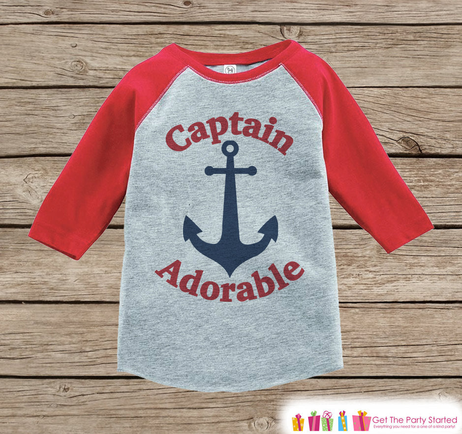 Humorous Boy's Outfit - Nautical Red Raglan Shirt - Funny Baby Boy's Onepiece or Tshirt - Novelty Raglan Tee for Baby Boys, Toddler, Infant