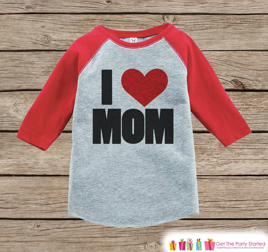 Boy's Mother's Day Outfit - Red Raglan Shirt - I Heart Mom - Happy Mothers Day Onepiece or Tshirt - Novelty Childrens Raglan Tee - Baby Boys - 7 ate 9 Apparel